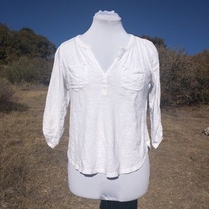 Anthropologie White Top Pocket 3/4 Sleeve S